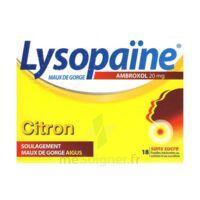 LYSOPAÏNE AMBROXOL 20 mg Pastilles maux de gorge sans sucre citron Plq/18 à VITRE