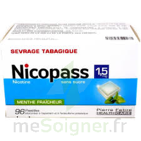 Nicopass 1,5 Mg Pastille Sans Sucre Menthe Fraîcheur Plq/96 à VITRE