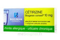 CETIRIZINE BIOGARAN CONSEIL 10 mg, comprimé pelliculé sécable à VITRE